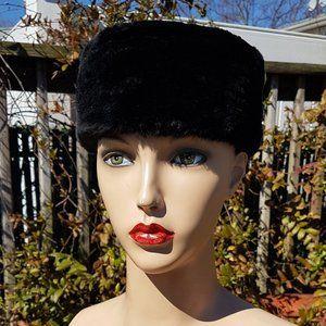 Vintage 1950s Saks Fifth Avenue Pillbox Mink Hat